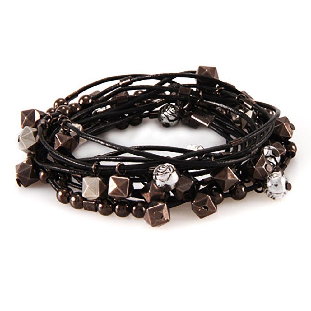 Black Leather Multi Beaded Convertible Wrap Bracelet