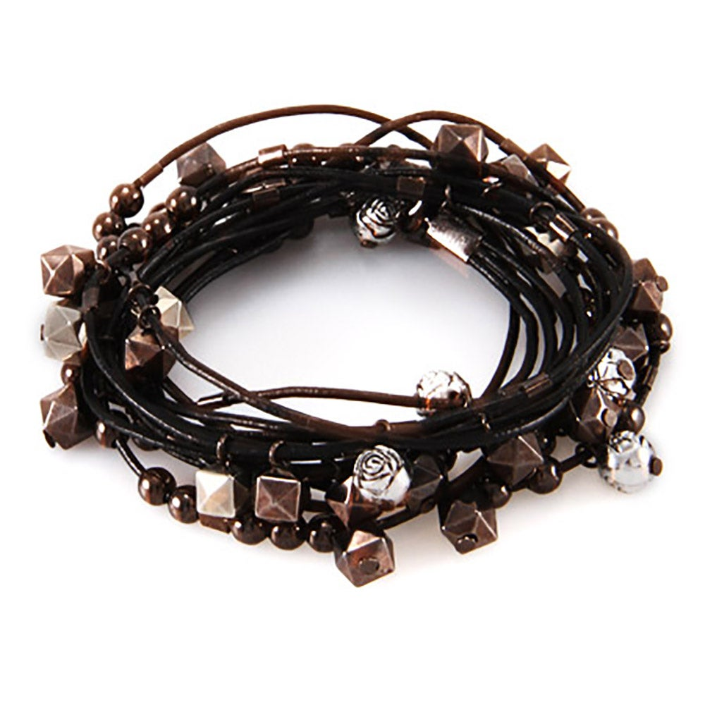 Black Leather Beaded Wrap Bracelet  Eve's Addiction Hover To Zoom