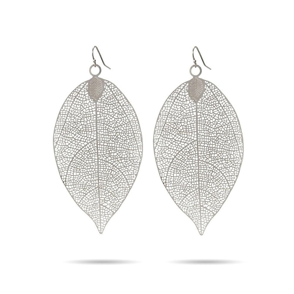 Large Leaf Earrings In Filigree Design