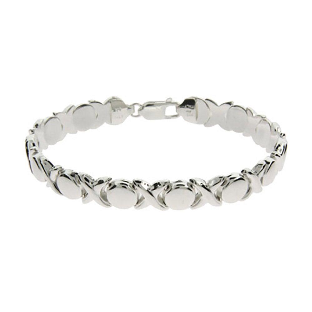 Designer Style Sterling Silver Hugs and Kisses Bracelet