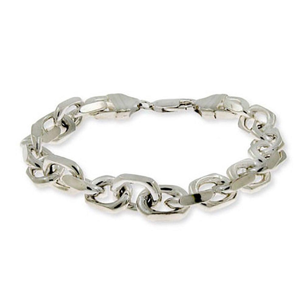 Linked Anchor Chain Men's Sterling Silver Bracelet