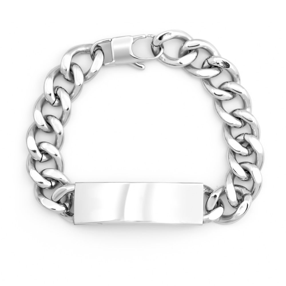 Engravable Men's Stainless Steel Curb Link Id Bracelet