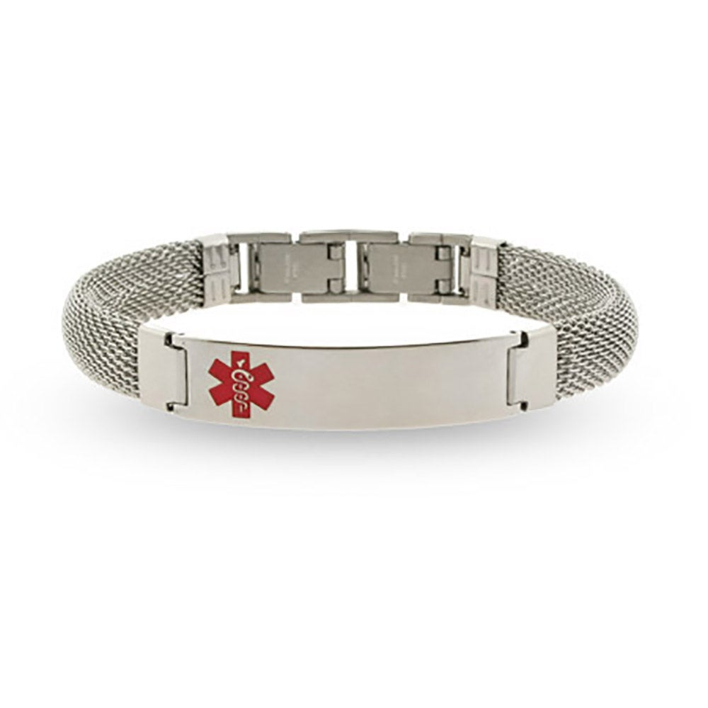 Men's Engravable Medical Id Bracelet With Mesh Band
