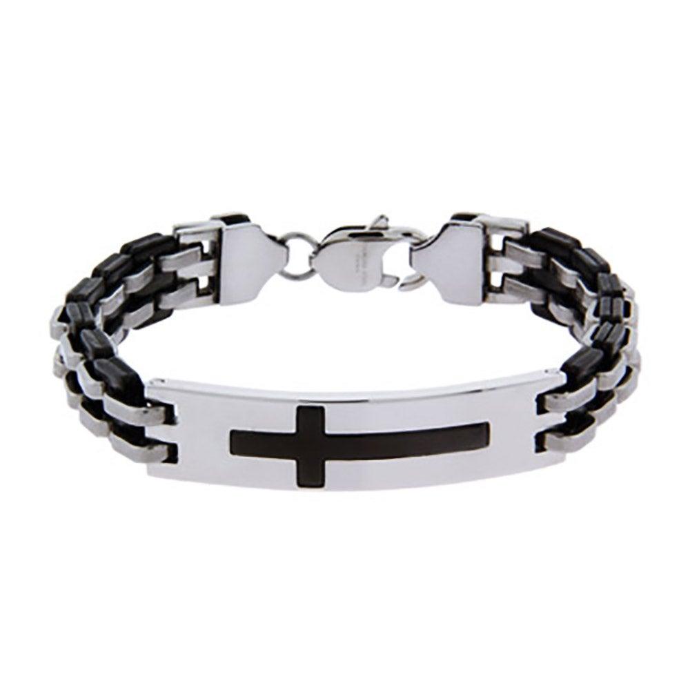 Men's Black Plate Engravable Stainless Steel Cross Bracelet