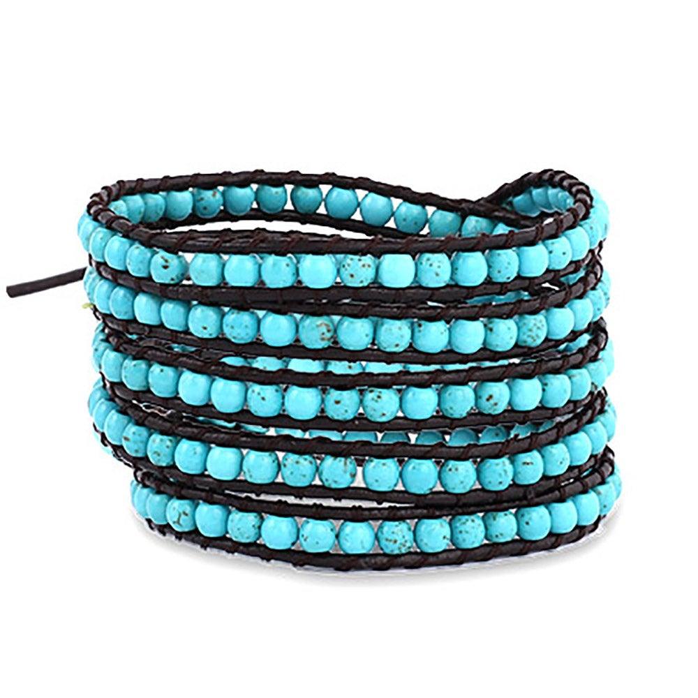 Chen Rai 5 Row Turquoise Wrap Bracelet On Brown Leather