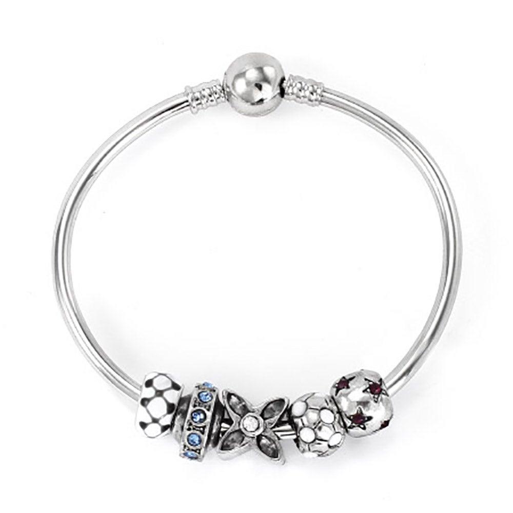 Pandora Charms Bracelets: Pandora Charm Compatible Bangle Bracelet With Barrel Clasp