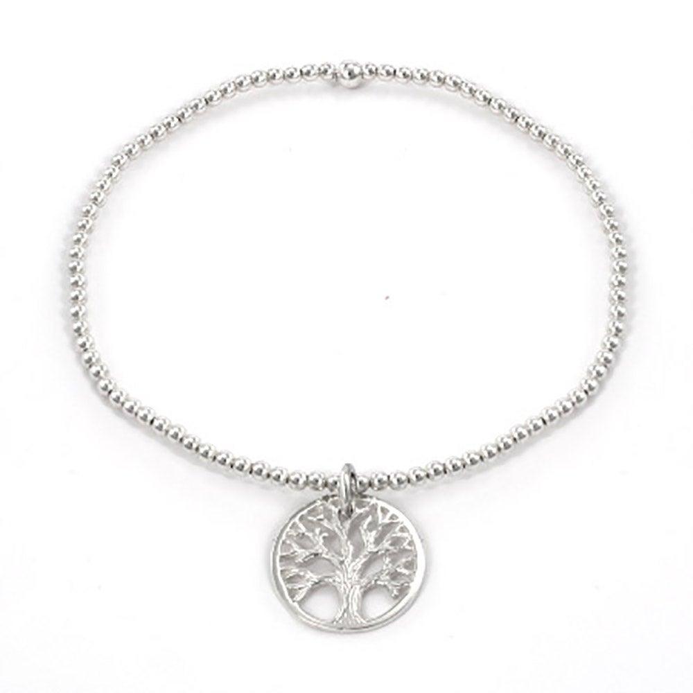 Sterling Silver Beaded Tree Of Life Charm Bracelet