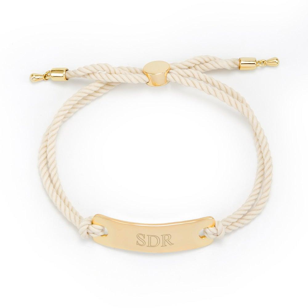 black and gold engravable bar rope bolo bracelet