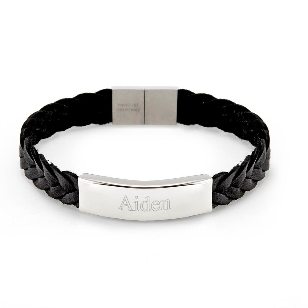 Men's Leather Engraved Name Bracelet