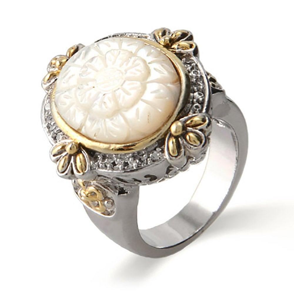 Designer Inspired Vintage Carved Mother Of Pearl Ring