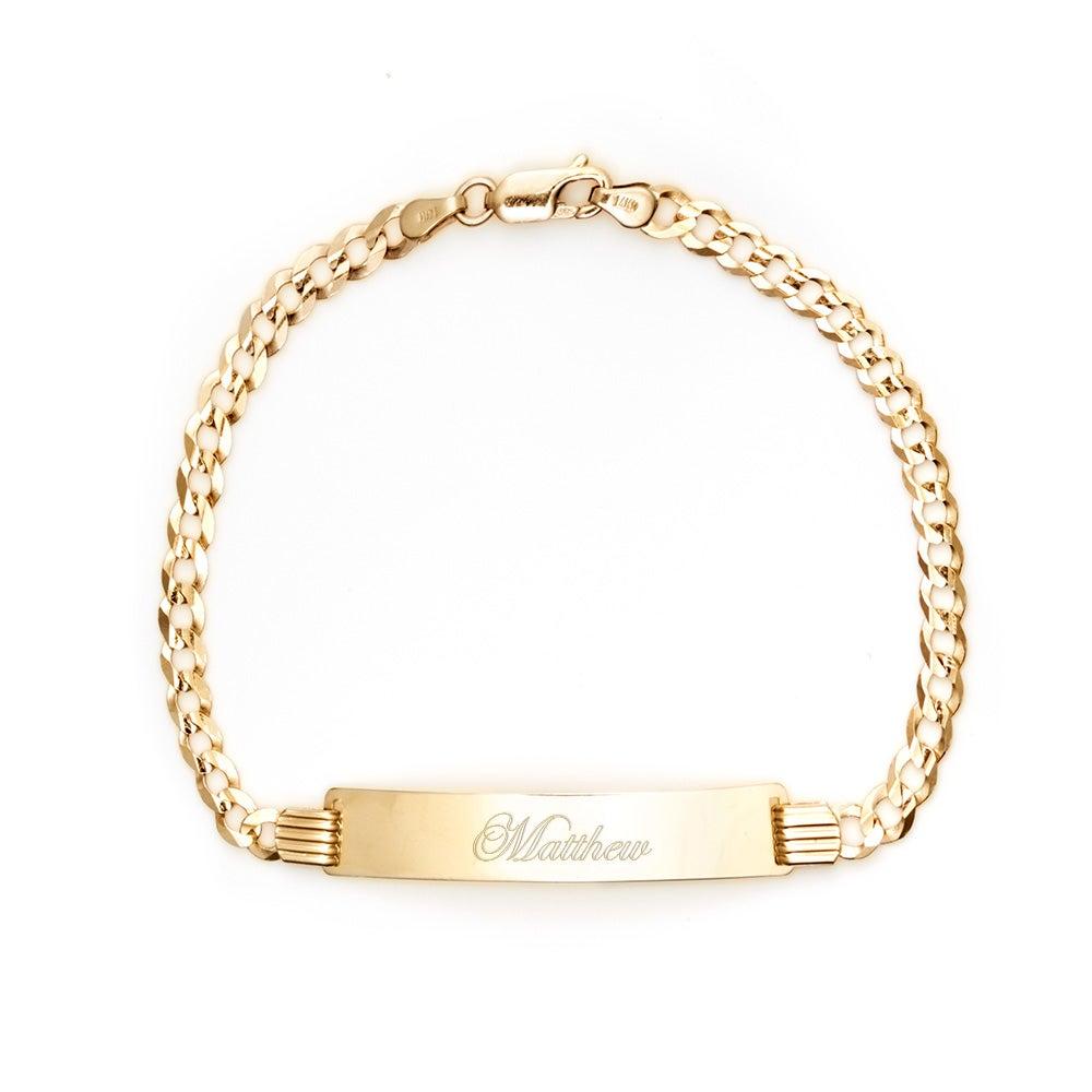 14k gold engravable cuban link id bracelet s addiction