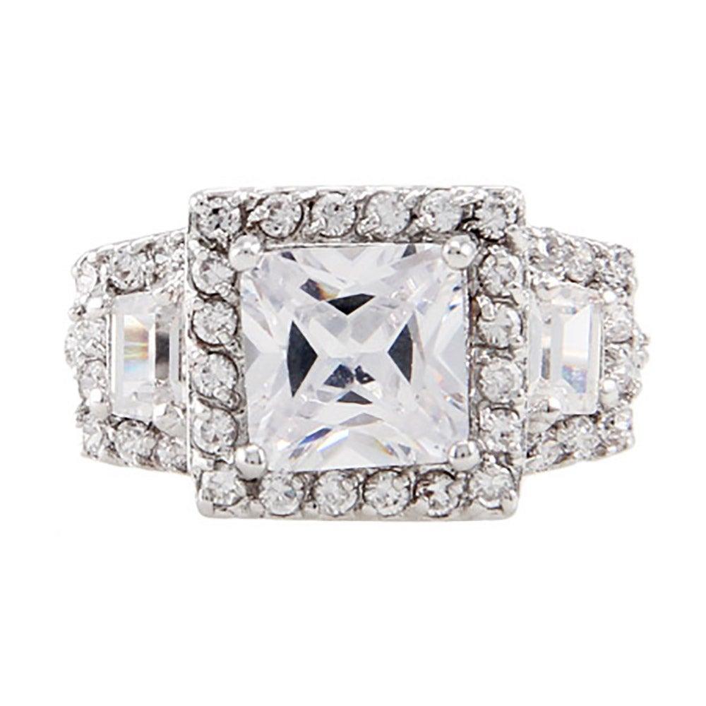 2 carat princess cut cz past present and future ring