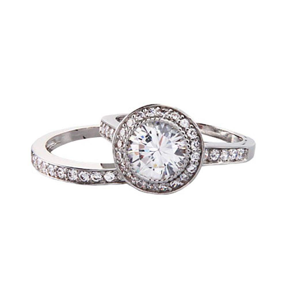 Vintage Round Cut Heirloom CZ Bridal Ring Set