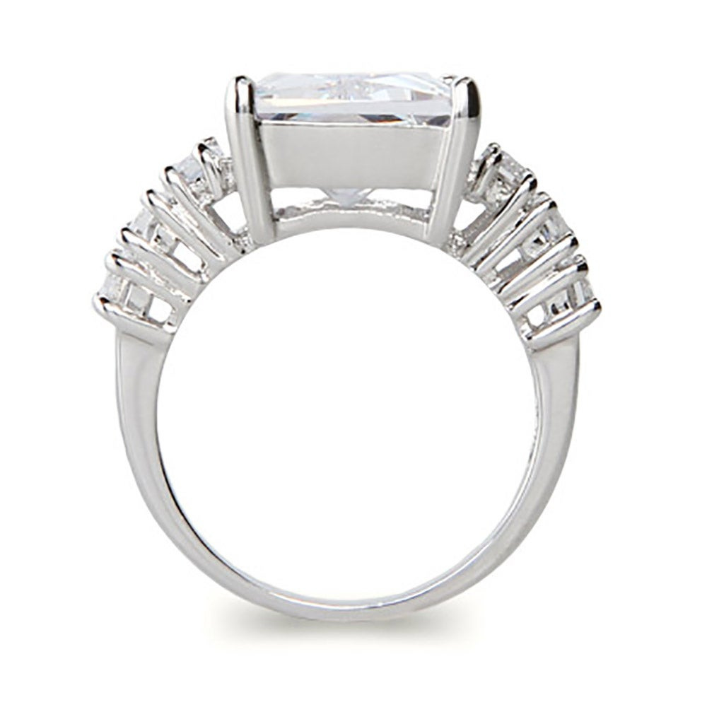 style 7 carat emerald cut cz engagement ring