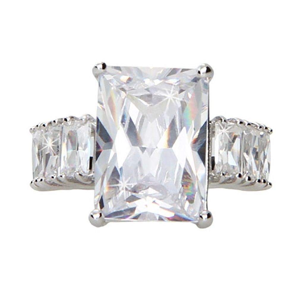 style 7 carat emerald cut cz engagement ring