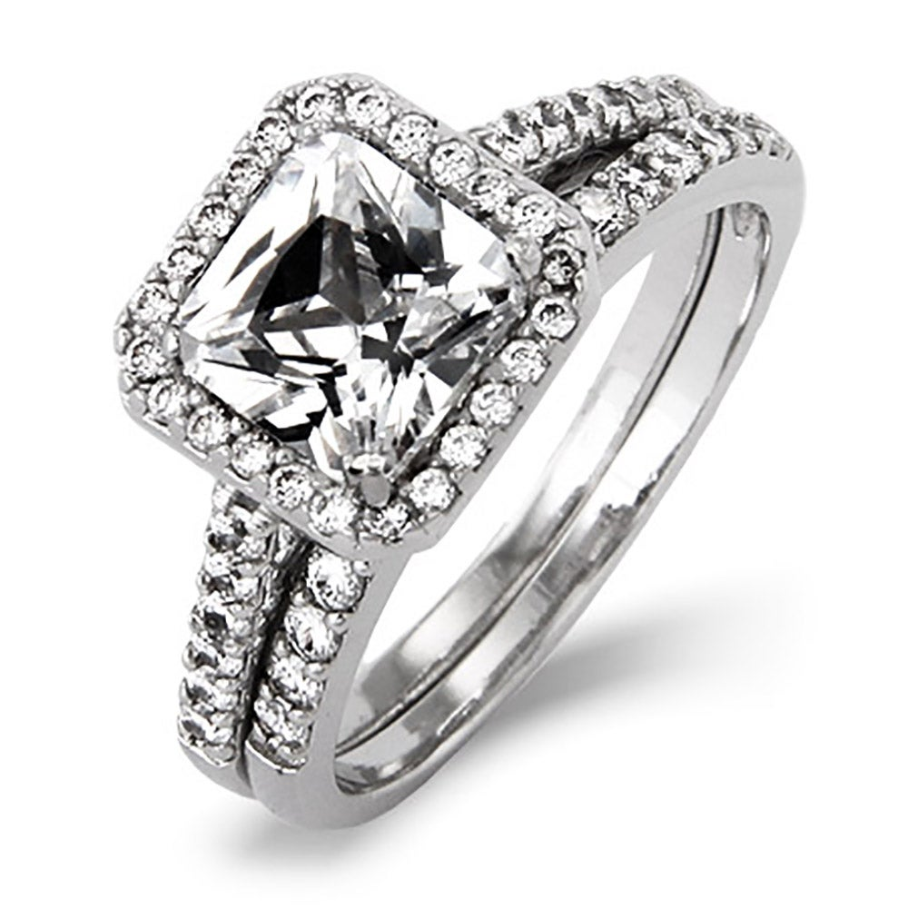 inspired princess cut cz engagement ring set | eve's addiction®