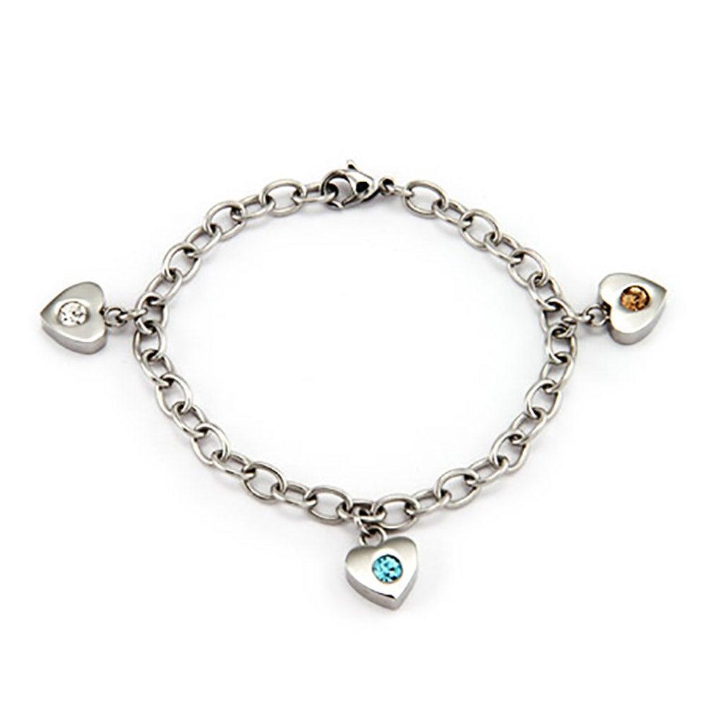 3 Stone Family Of Hearts Custom Birthstone Bracelet
