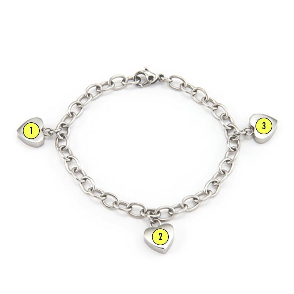 3 birthstone family of hearts custom bracelet