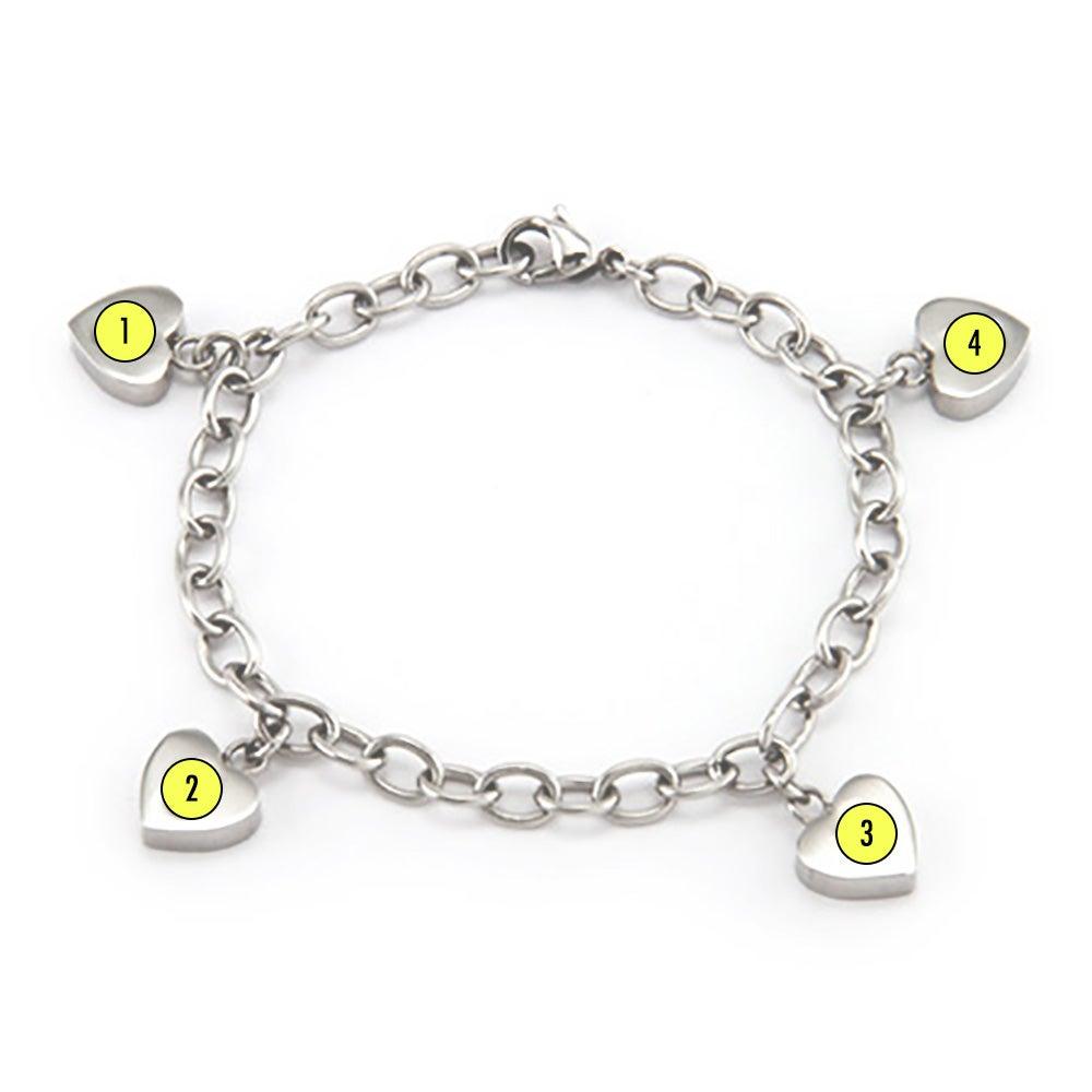 4 family of hearts custom birthstone bracelet