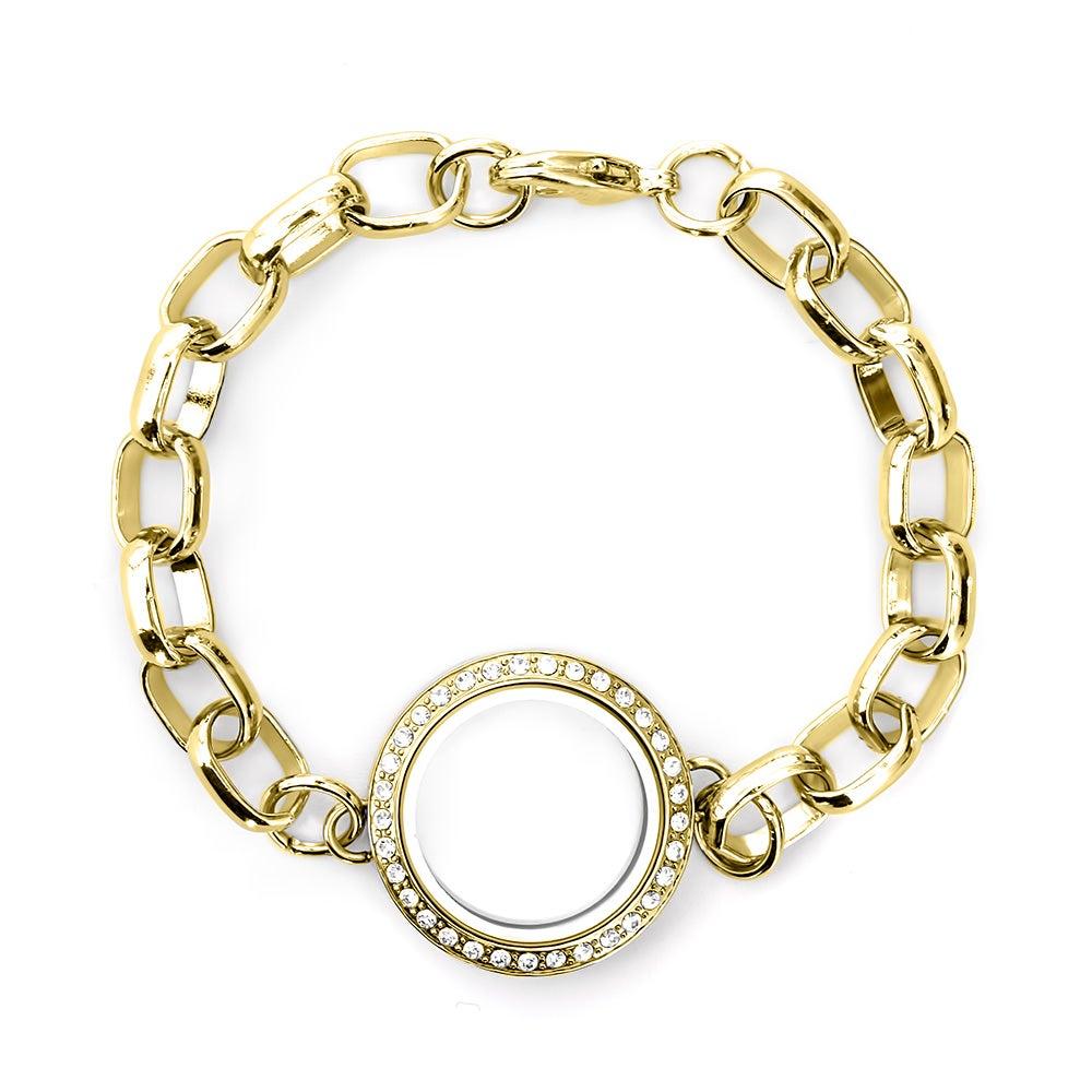 gold cz floating locket link bracelet s addiction 174
