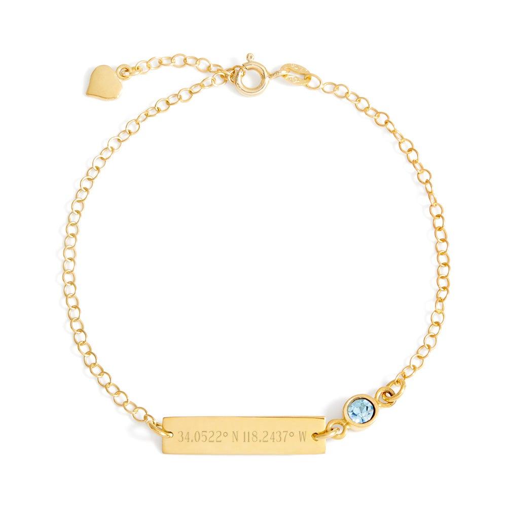 gold custom coordinates cz birthstone bracelet