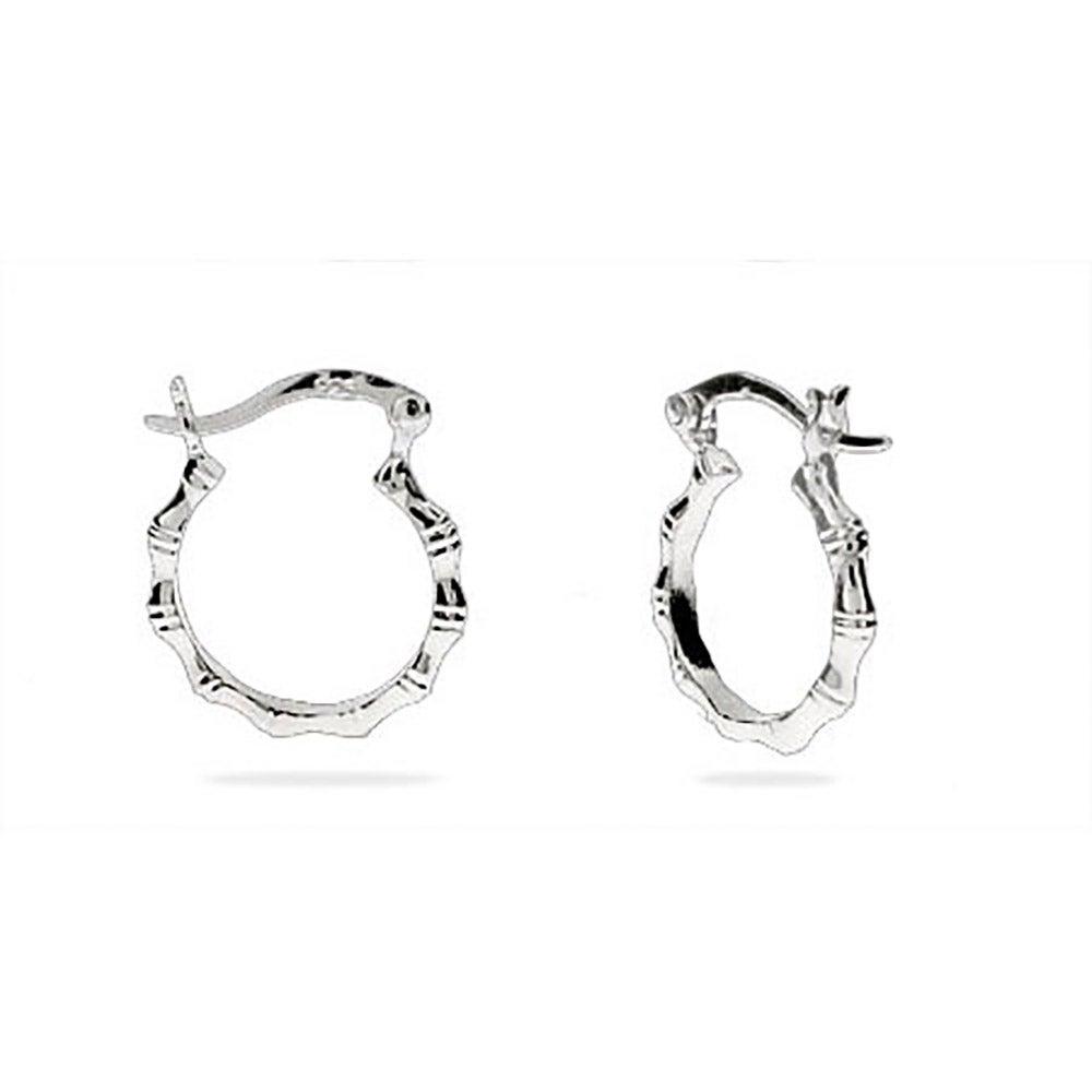 Sterling Silver 5 Inch Bamboo Hoop Earrings