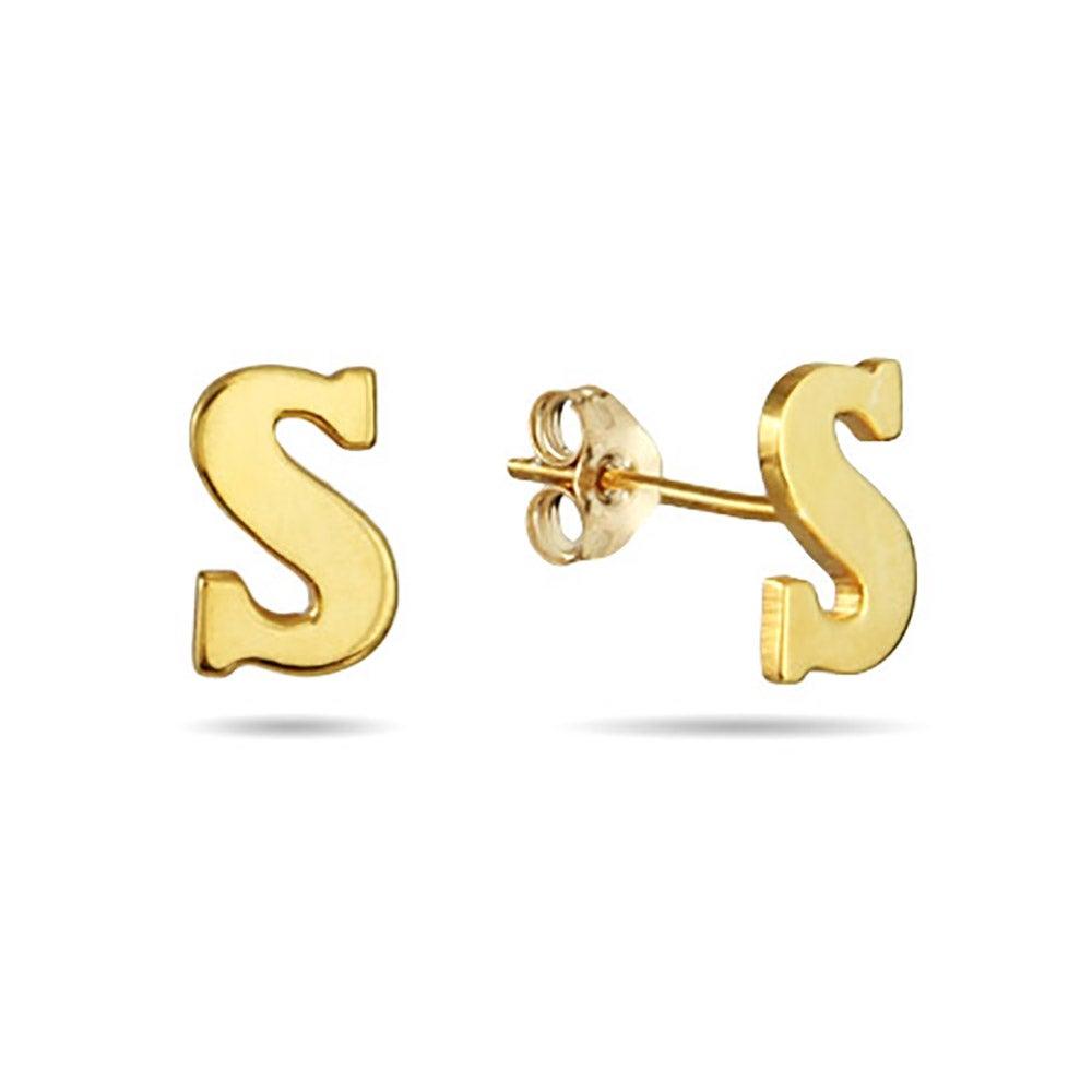 Gold Initial Stud Earrings