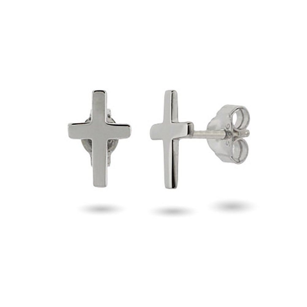 Petite Sterling Silver Cross Stud Earrings