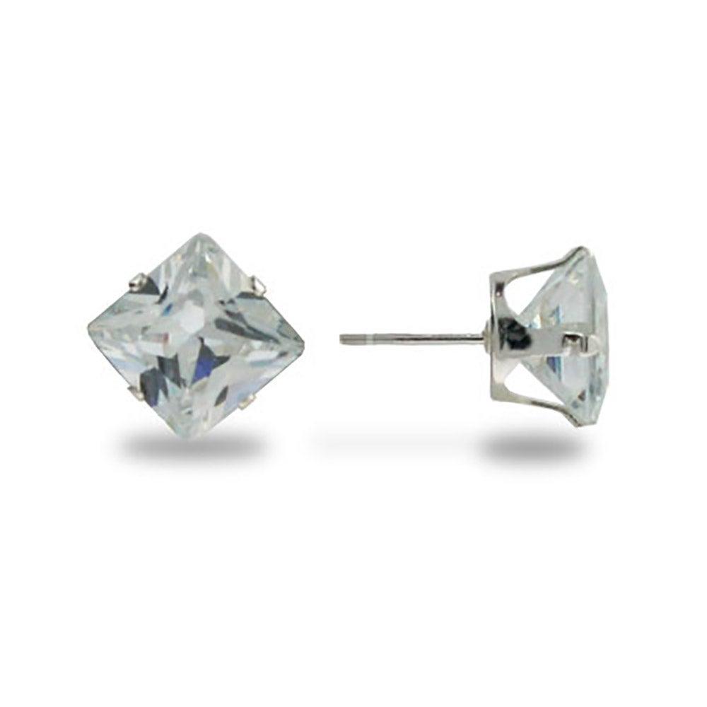 Sterling Silver 6mm Princess Cut Diamond Cz Stud Earrings
