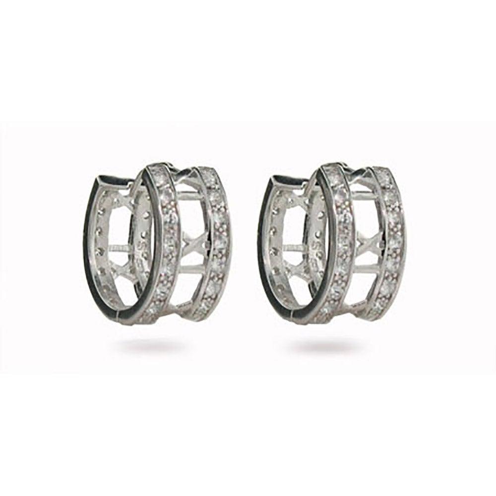 Designer Style Roman Numeral Cubic Zirconia Hoop Earrings
