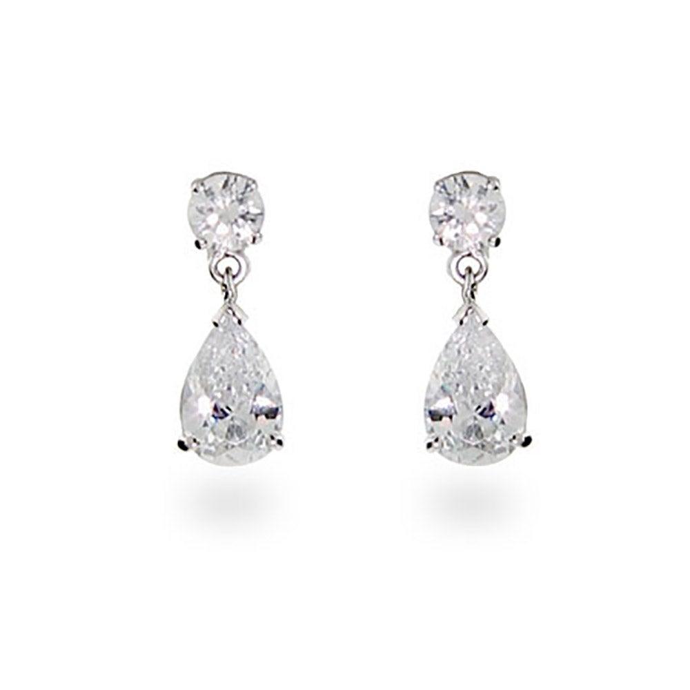 Celebrity Inspired Cubic Zirconia Pear Drop Silver Earrings