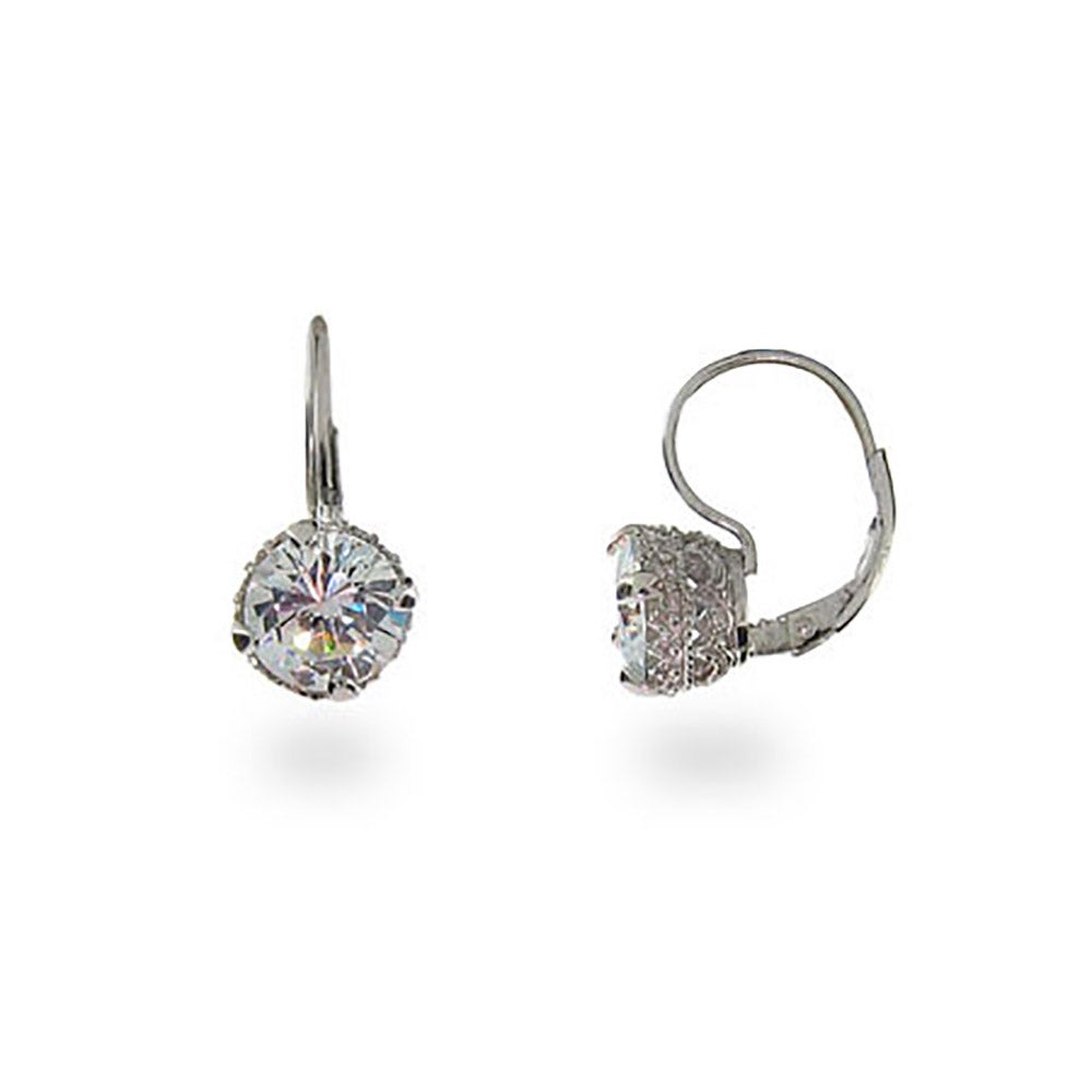 Crown Set Diamond Star Cut Cz Leverback Earrings