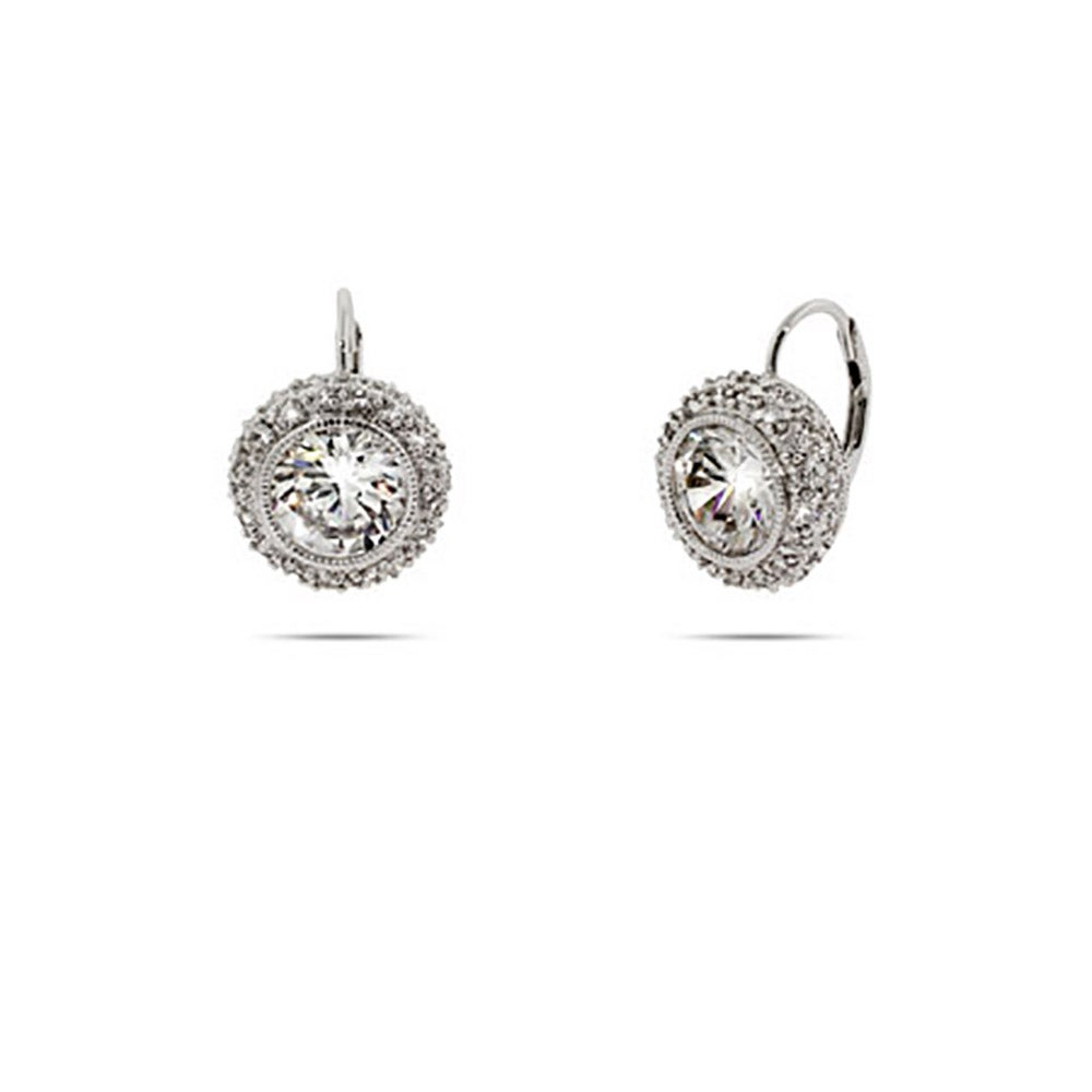 Cz Sterling Silver Leverback Earrings
