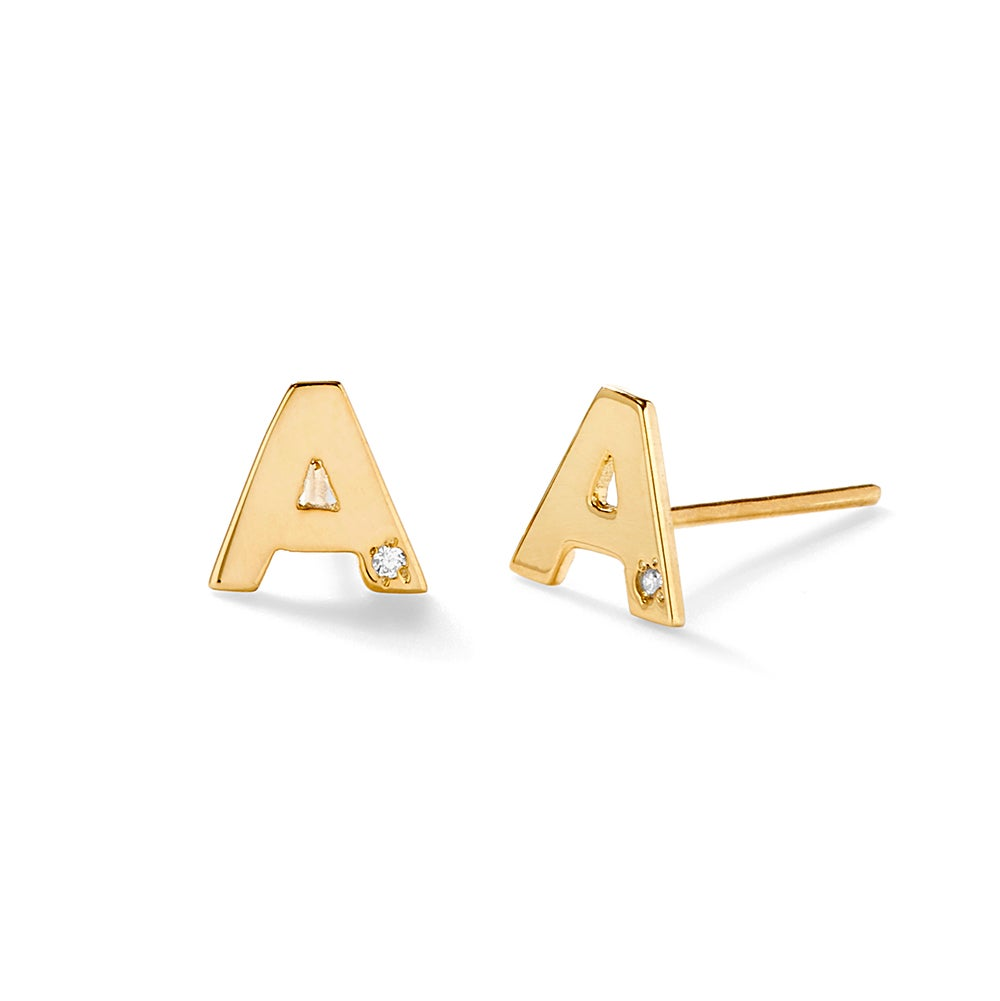 Diamond Initial Gold Stud Earrings  Eve's Addiction®