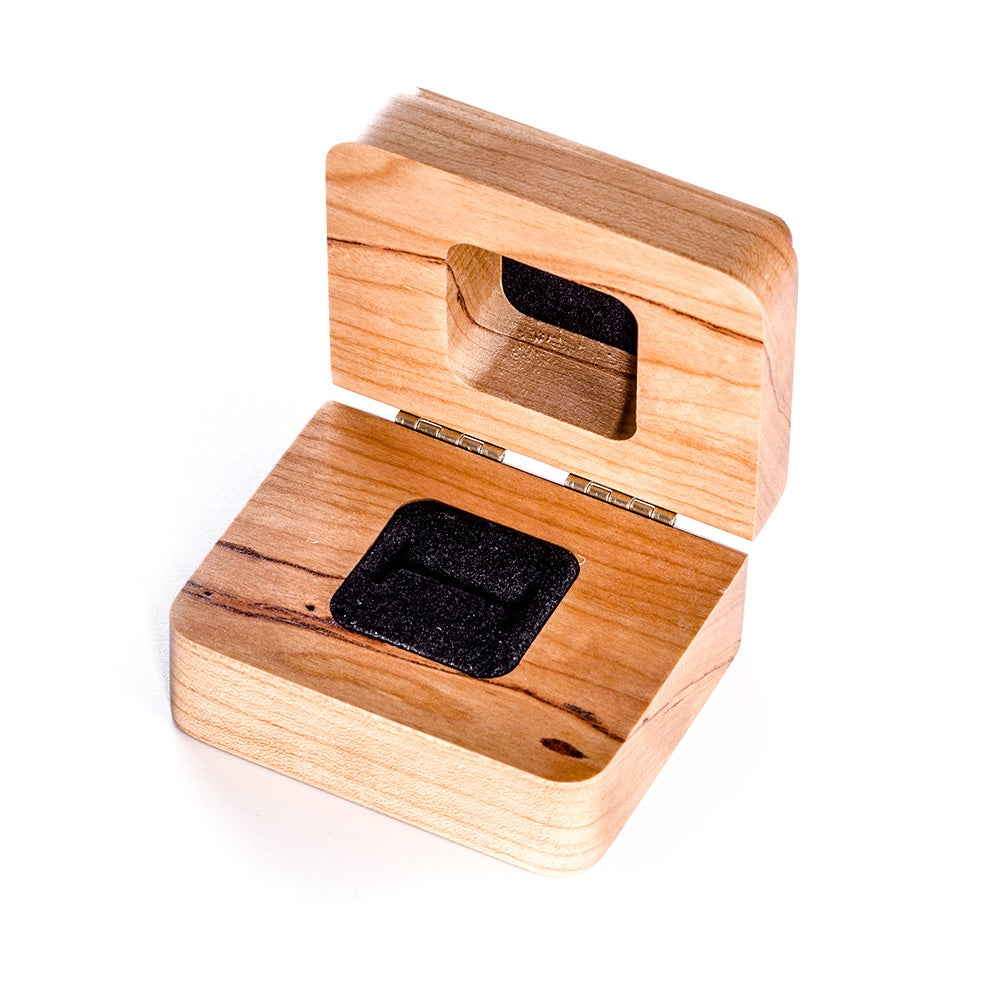 Engravable cherry wood ring box for Wooden ring box