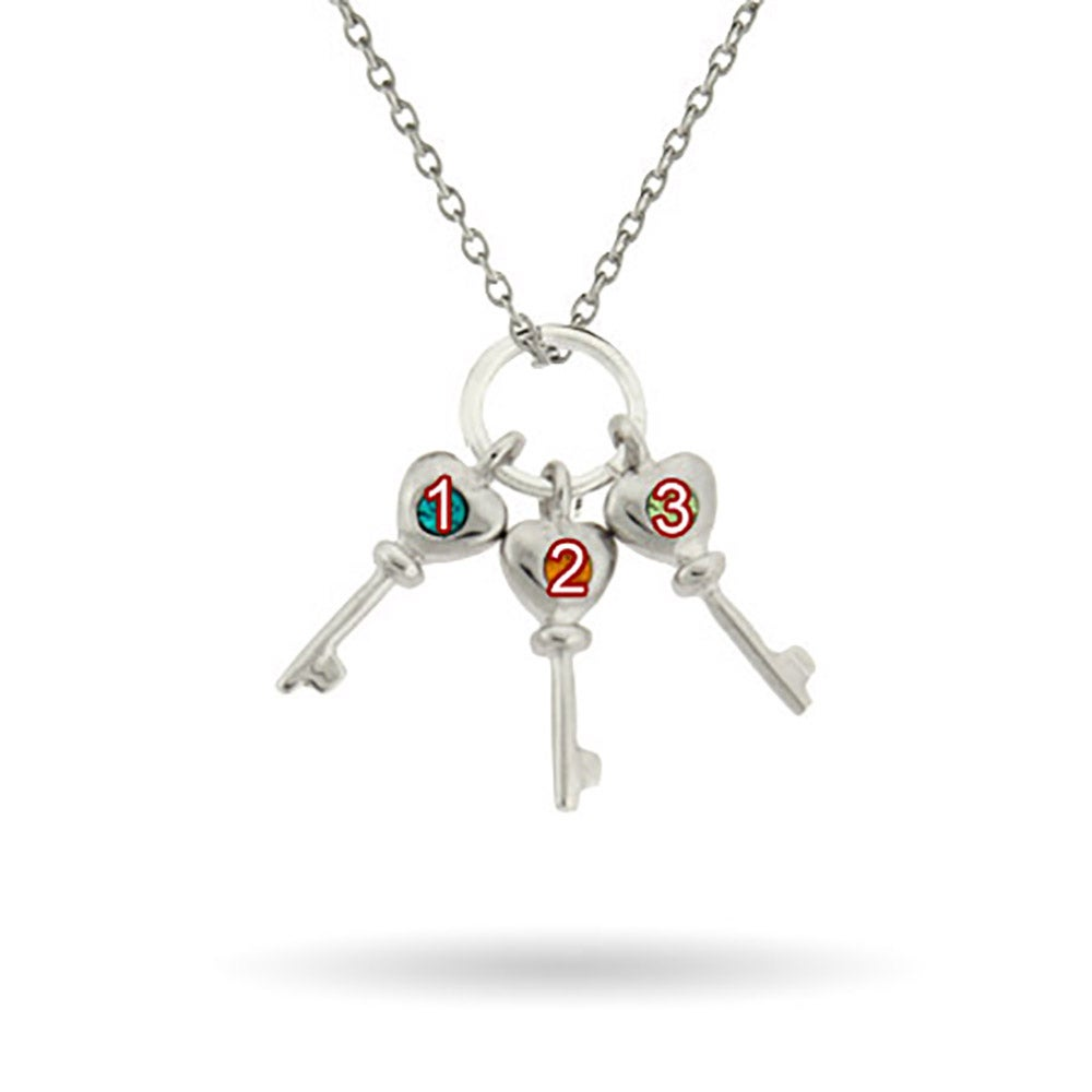 personalized 3 birthstone key charms s necklace