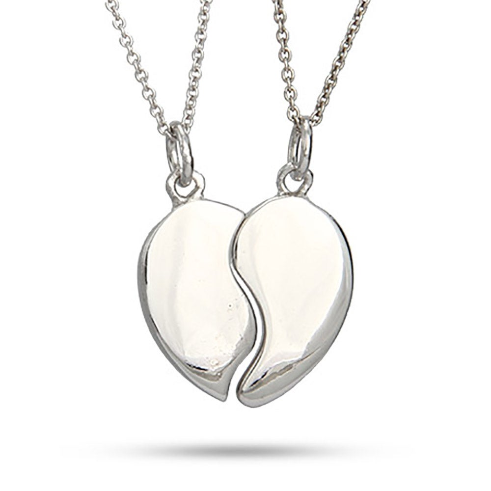 Couples Split Heart Sterling Silver Necklace | Eve's Addiction®