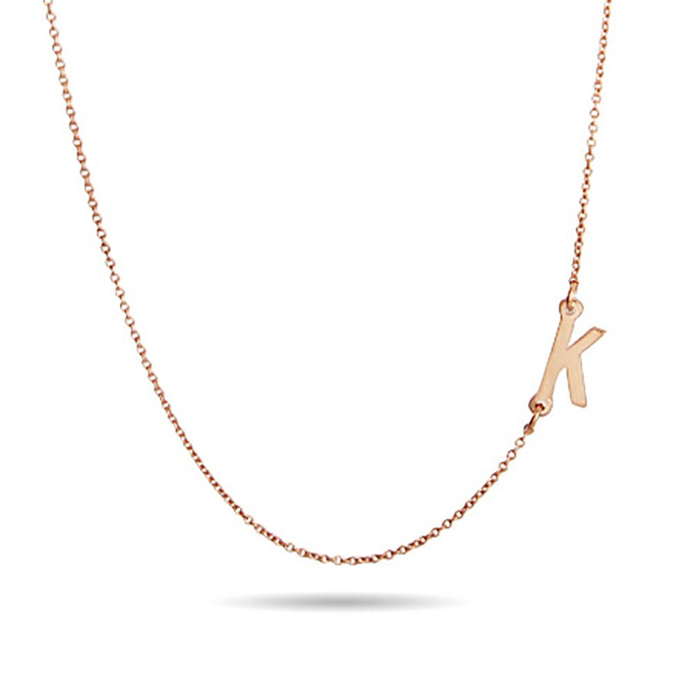 rose gold sideways initial necklace