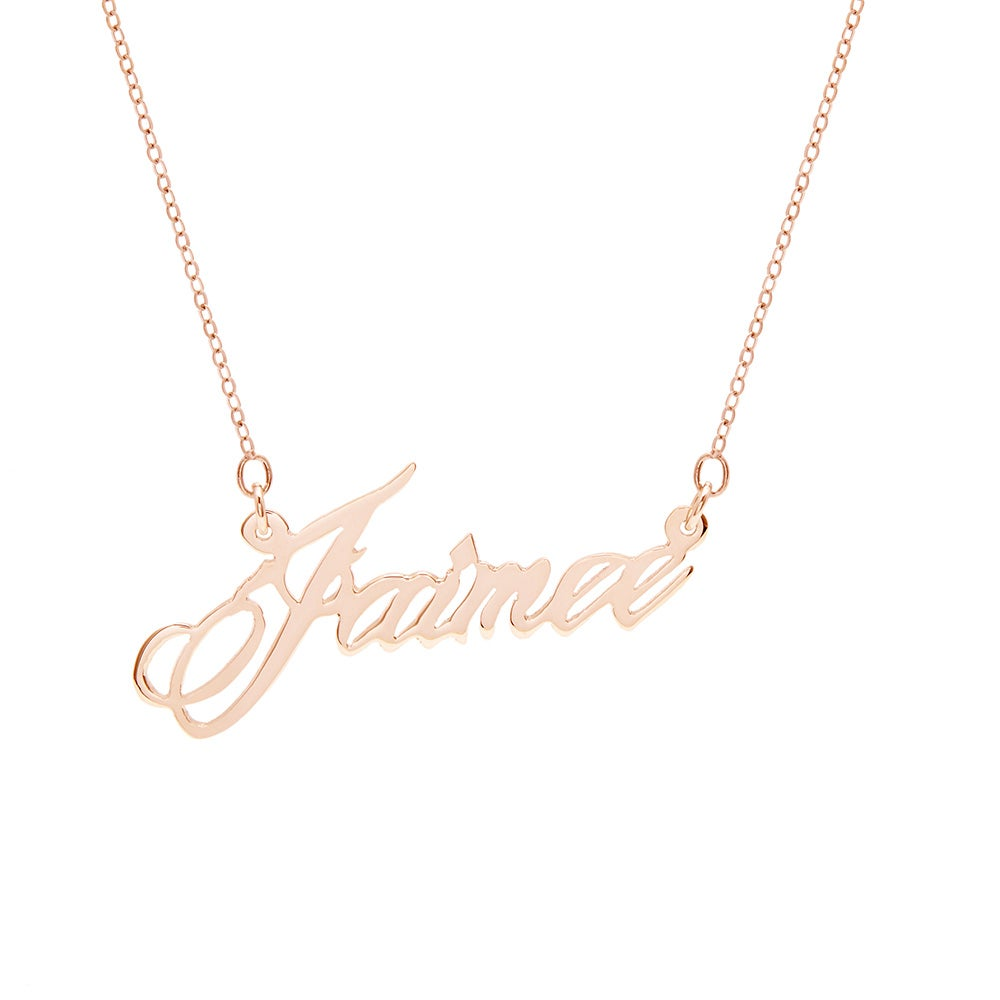 Script Name Necklace in Rose Gold Eves Addiction