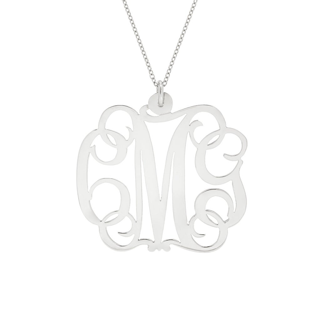 Fancy Script Sterling Silver Monogram Necklace  Eve's Addiction®