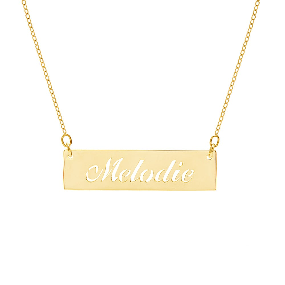 Cut Out Nameplate Bar Gold Plated Necklace