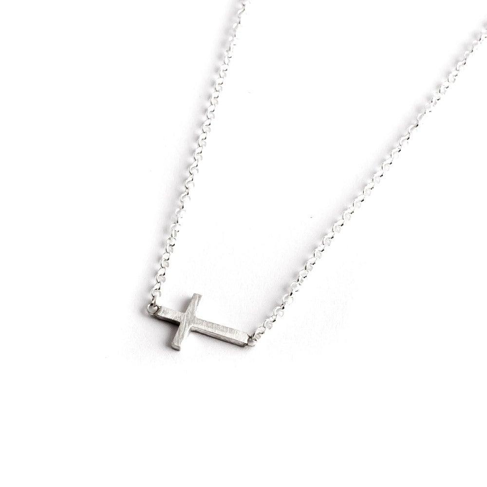 dogeared faith sideways cross sterling silver necklace