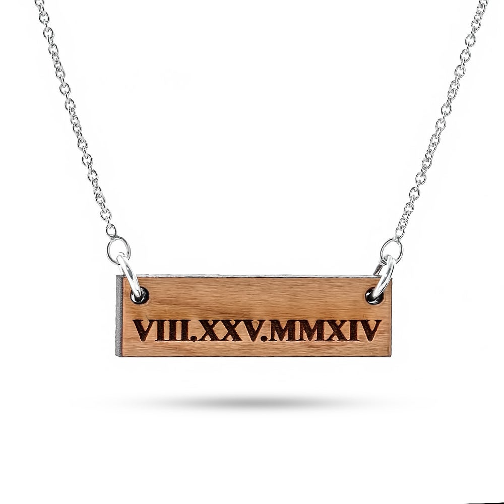 Worksheet How To Write 25 In Roman Numerals roman numeral bar necklace cherry wood custom necklace