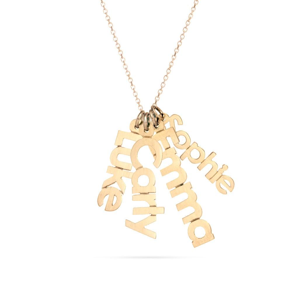 14k gold dangling family nameplate necklace. Black Bedroom Furniture Sets. Home Design Ideas