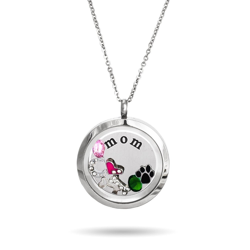 floating charm locket necklace