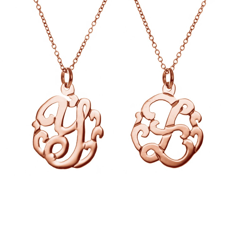 Single initial rose gold monogram style necklace for Rose gold personalized jewelry