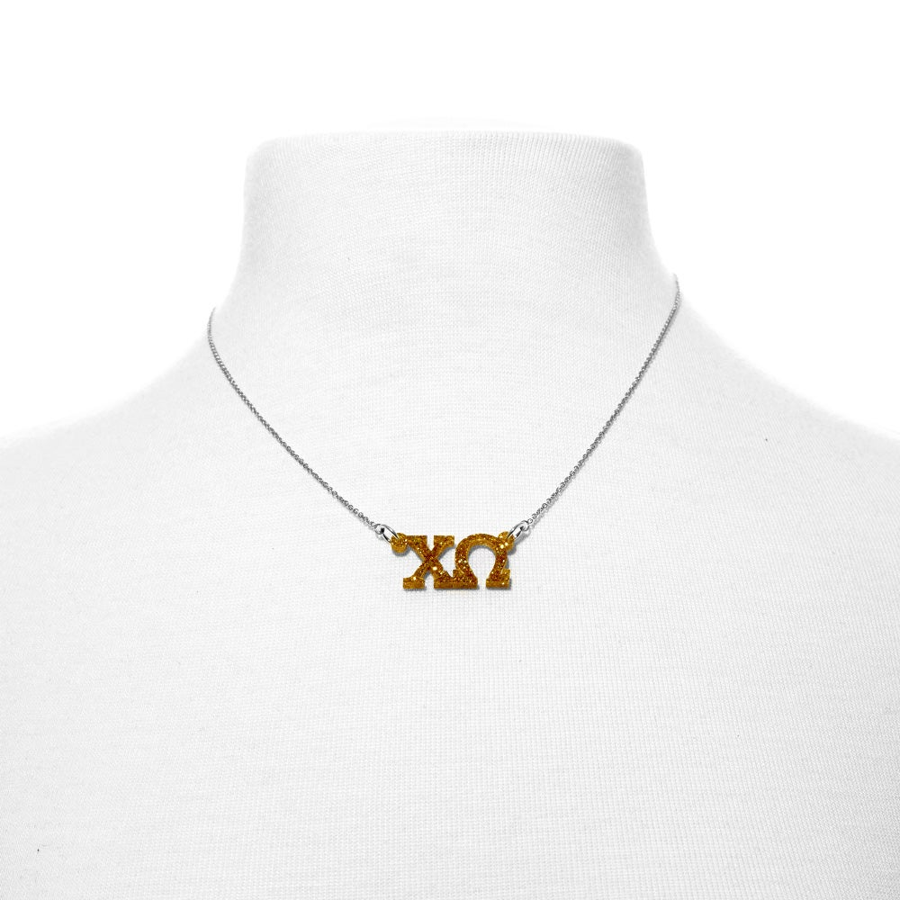 Sorority greek letter cut out acrylic necklace for Acrylic letter necklace
