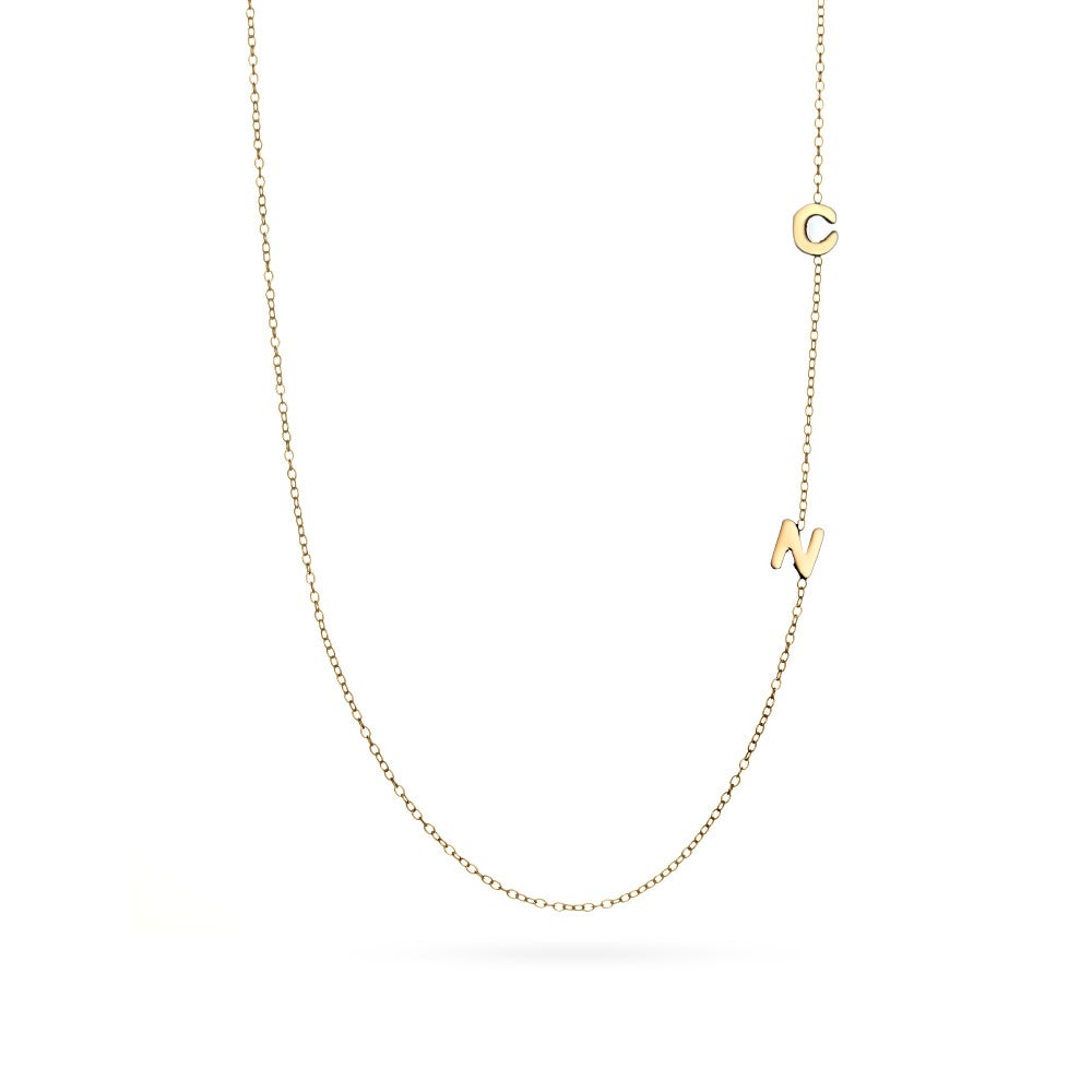 2 letter gold sideways initial necklace