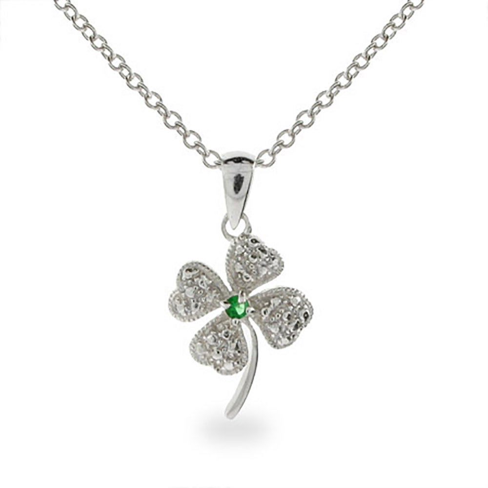 Green lucky shamrock necklace four leaf clover charm emerald green - Lucky Green Cz Four Leaf Clover Sterling Silver Pendant