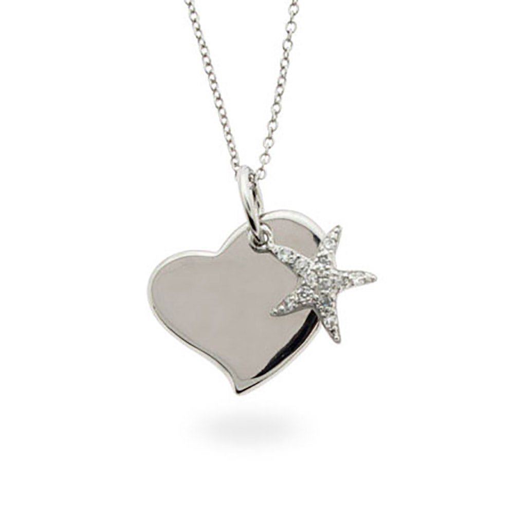 engravable sterling silver starfish charm necklace